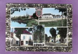 72 ARNAGE Multivues La Sarthe L'Eglise Les Nouvelles écoles Hôtel De Ville La Pinède Rue Nationale Simca Aronde Blason - Other Municipalities