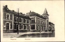 Cp Haguenau Hagenau Elsass Bas Rhin, Bahnhof, Straßenseite - France