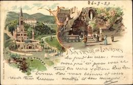 Lithographie Lourdes Hautes Pyrénées, Mariä Empfängnis Basilika, Grotte Von Massabielle - Autres Communes