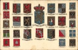 Blason Lithographie Niederlande, Een Hollandsche Groet, Holländischen Gruß, Länderwappen - Pays-Bas