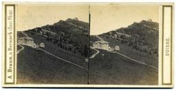 Photos Stéréoscopiques - Suisse - Le Mont Rigi Et  Hotels Rigi Staffel Et Rigi Kulm N° 3058 -  B 46 - Stereoscopio
