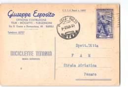14863 NAPOLI ESPOSITO OFFICINA TELAI FURGONCINI BICICLETTE TITANIA X PESARO - 6. 1946-.. Repubblica