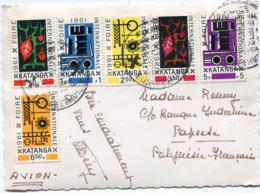 KATANGA CARTE POSTALE PAR AVION DEPART ELISABETHVILLE 8-7-1961 POUR LA POLYNESIE FRANCAISE - Katanga
