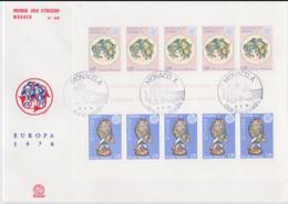 Monaco 1976 FDC Europa CEPT Souvenir Sheet (LAR8-9) - Europa-CEPT