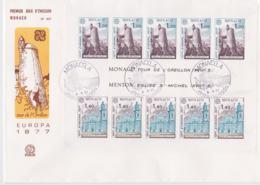 Monaco 1977 FDC Europa CEPT Souvenir Sheet (LAR8-9) - Europa-CEPT