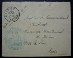 1915 Orléans Cad Olivet 5eme Corps D'armée Hôpital Temporaire N°6 Au Commandant Burthuret Bureau De Recrutement Verdun - Postmark Collection (Covers)