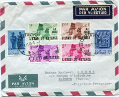 KATANGA LETTRE PAR AVION DEPART ELISABETHVILLE 6-11-1961 POUR LA POLYNESIE FRANCAISE - Katanga