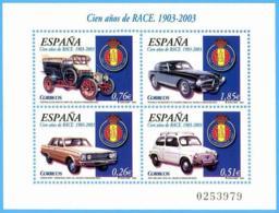 España. Spain. 2003. HB. Cien Años Del RACE. Dodge. SEAT. Hispano Suiza. Pegaso - 2001-10 Nuevos & Fijasellos