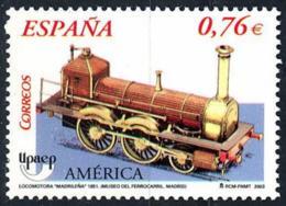 """España. Spain. 2003. America UPAEP. Locomotora Locomotive Long Bolier """"La Madrileña - 2001-10 Nuevos & Fijasellos"""