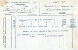 FACTURE 1925 HANNECART FRERES FONTENELLE En THIERACHE AISNE - BOISSELLERIE SCIERIE MÉCANIQUE - Frankreich