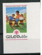 Ghana 1980  IYC AIE 65p Surchargé Visite Papale Jean Paul II  Football IMPERF  MNH - Childhood & Youth