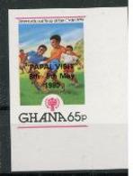 Ghana 1980  IYC AIE 65p Surchargé Visite Papale Jean Paul II  Football IMPERF  MNH - Enfance & Jeunesse