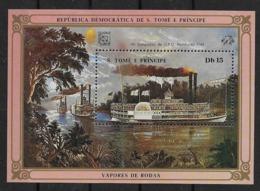 1984  SAO TOME E PRINCIPE N°  BF  Nf** MNH . Bloc-feuillet UPU 1984 . Vapores De Rodas. - São Tomé Und Príncipe