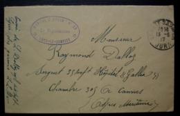 Lons Le Saunier 1914 Hôpital Complémentaire N°20, Cachet Ovale - Postmark Collection (Covers)