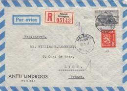 LETTRE FINLANDE COVER FINLAND 1949. RECOMMANDEE PAR AVION. HELSINKI - LYON FRANCE  /CLASSEUR FINLANDE 28 - Finland