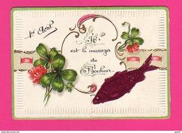 Carte Gaufrée Petit Modèle  (Ref: Z2010) ) 1er AVRIL POISSON D'AVRIL Trèfle à 4 Feuilles - 1er Avril - Poisson D'avril