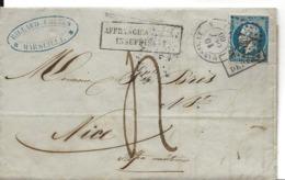 MARSEILLE B Du Rhôe CAD 1860 Sur N° 14 Empire Griffe Affranchissement Insuffisant + Après Le Départ Sur Timbre + Taxe .G - 1849-1876: Klassik