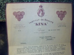 FACTURE   Institut De Beauté KÉVIA à Paris Rue Tronchet Année 1937 - Altri