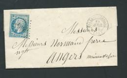 Yvert N°14 SUR LAC Obl. Petits Chiffres 1953  Melle-sur-Béronne  Avril 1858   Raa3505 - Poststempel (Briefe)