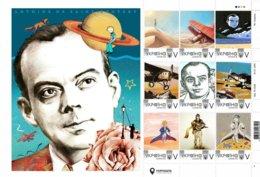 Ukraine 2019, Aviation, World Literature, Writer Antoine De Saint-Exupéry, Sheetlet Of 9v - Ukraine
