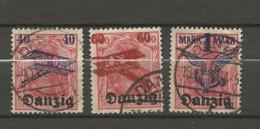 Danzig 1920  Mi.Nr.:50-52 Air Mail Issue Set. Cancelled O - Danzig