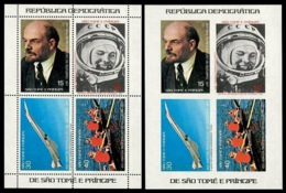 Olympics 1980, Space, Concorde, Lenin, Gagarin. Sao Tome 1977. Mi.blk8A+B. Perf. + Imperf. MNH** - Summer 1980: Moscow
