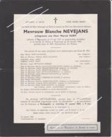 DOODSBRIEF NEVEJANS BLANCHE ECHTGENOTE DURY RENINGELST POPERINGE (1921 - 1968) Bewerkt Tegen Kopieren - Avvisi Di Necrologio