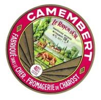 ETIQUETTE De FROMAGE.. CAMEMBERT Fabriqué Dans Le CHER..Le Rayon D'Or..Fromagerie De CHAROST ( 18) - Cheese