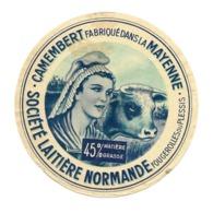 ETIQUETTE De FROMAGE..CAMEMBERT Fabriqué Dans La MAYENNE..Société Laitière Normande à FOUGEROLLES Du PLESSIS (53) - Cheese