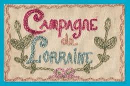 Carte En Franchise Militaire Brodée Campagne De Lorraine Service Des Troupes En Campagne - Ricamate