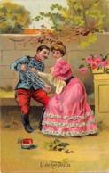 Thème  Métiers . Tapisserie.Tannerie.  L'Echeveau .Mlitaire Et Jeune Fille     (voir Scan) - Artisanat