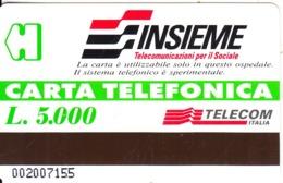 ITALY - Insieme, Telecom Italia Telecard L.5000(for Use In Hospital), CN : 002, Mint - Italië