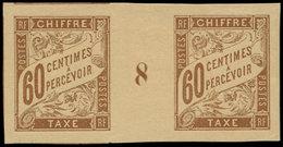 "(*) COLONIES GENERALES - Taxe - 24, Paire Millésime ""8"", Grandes Marges, Amorces De Voisins, SUP: 60c. Brun (Maury) - France (former Colonies & Protectorates)"