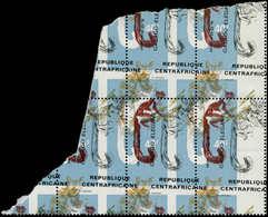 ** CENTRAFRICAINE - Poste - 151, Bloc De 4, énorme Décalage Des Couleurs + Piquage à Cheval Très Décalé: 40f. Calago - Zentralafrik. Republik