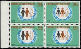 """** CENTRAFRICAINE - Poste - (1978), Non émis """"200f. Lutte Contre L'apartheid"""", Bloc De 4 Bdf. (100 Pièces Existent) - Zentralafrik. Republik"""