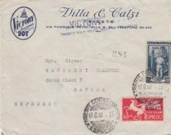 """450 - STORIA POSTALE - BUSTA PUBBLICITARIA """"VICTORY AMERICAN DDT"""" - DUE VALORI DA 15 E 60 Lire ESPRESSO-AMG-FTT-TRIESTE - 1946-60: Marcofilie"""