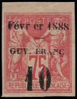 * GUYANE - Poste - 9, Bien Margé, Petit Bdf (pli D'angle), Gommé, Signé: 10 S. 75c. Rose. - Guyane Française (1886-1949)