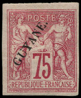 * GUYANE - Poste - 14, Beau Avec Gomme Originale, Très Frais, Signé Brun, Avec Point: 75c. Carmin. - Guyane Française (1886-1949)