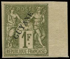(*) GUYANE - Poste - 15, Superbe, Bdf, Sans Point, Signé Calves: 1f. Sage (Maury 15 II) - Guyane Française (1886-1949)