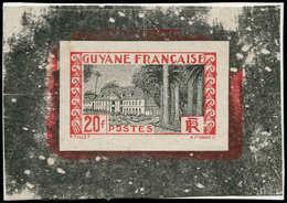 """EPA GUYANE - Poste - 132, épreuve Définitive Sur Carton Avec Faciale En Rouge Et Noir, Signée Au Dos """"A. Mignon"""": 20f. C - Guyane Française (1886-1949)"""