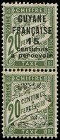 ** GUYANE - Taxe - 3, Paire Dont 1 Exemplaire Surcharge Quasi Absente, Signé Calves, Gomme Non Originale - Guyane Française (1886-1949)