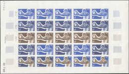 ** POLYNESIE - Poste - 66/69, 4 Feuilles De 25 Essais De Couleurs Différents Avec Coins Datés: 3° Jeux Pacifique Sud, Bo - Polynésie Française