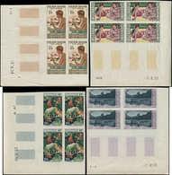 ** POLYNESIE - Poste Aérienne - 1/4, 4 Blocs De 4 Non Dentelés, Tous Cdf Et Coins Daté: Gauguin - Perles (Maury) - Polynésie Française