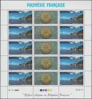 ** POLYNESIE - Poste Aérienne - 193/95, 3 Feuillets De 10 Avec Vignettes: Edifices Religieux - Polynésie Française