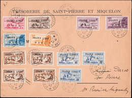 SAINT PIERRE & MIQUELON - Poste - 264/5 + 267/70 + 274/80, Sur Enveloppe 17/8/42: France Libre - St.Pierre Et Miquelon