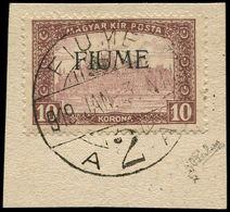 O ITALIE FIUME - Poste - 21, Sur Petit Fragment, Signé Calves, Surcharge Machine: 10k. Brun - 8. WW I Occupation