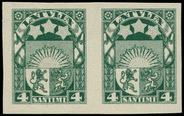 (*) LETTONIE - Poste - 95, Paire Non Dentelée: 4s. Vert (Michel 91 II) - Lettland
