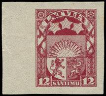 (*) LETTONIE - Poste - 99, Non Dentelé, Bdf: 12s. Carmin - Lettland