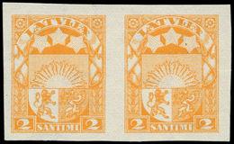 (*) LETTONIE - Poste - 122, Type I, Paire Non Dentelée: 2s. Jaune (Michel 117 I) - Lettland