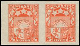 (*) LETTONIE - Poste - 172, Paire Non Dentelée: 3s. Rouge (Michel 171 II) - Lettland